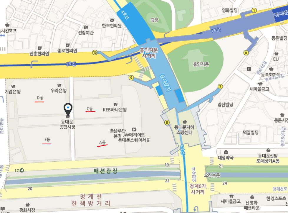 동대문 종합시장 지도1
