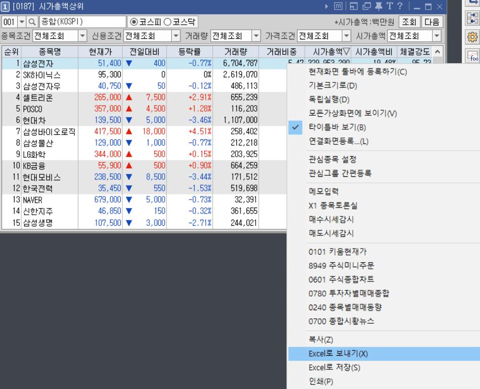 한국 시가총액 순위 키움증권4