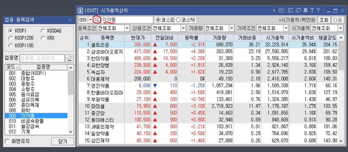 한국 시가총액 영웅문 업종별 조회