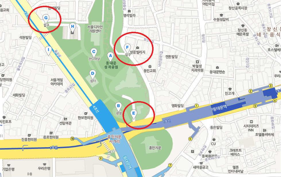 동대문 성곽공원 위치 1