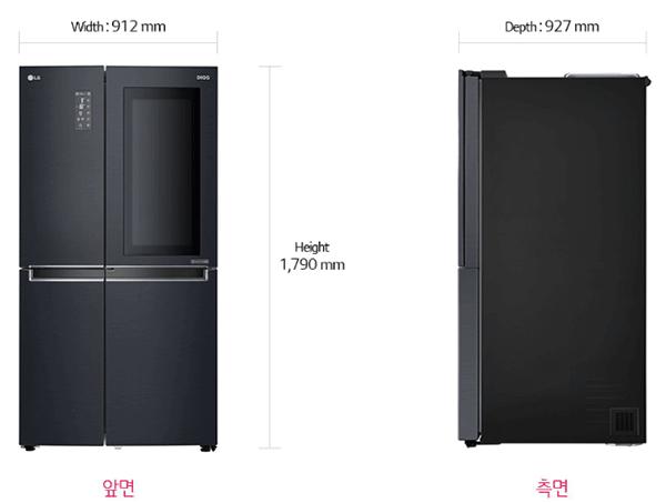 양문형-냉장고-LG-노크온-스페이스-규격