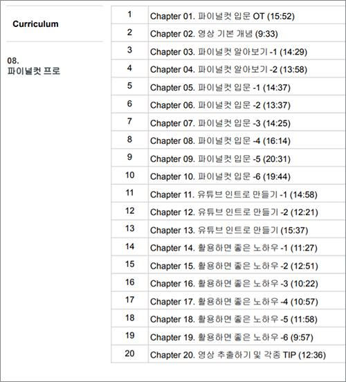 영상편집 인강 추천 1